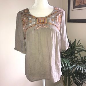 About A Girl Taupe Short Sleeve Peasant Tunic Top